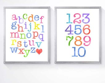 Playroom Decor, Learing Prints, Kids Playroom, ABC 123 Prints, Set of 2-8x10 Prints, Learning Art, Toddler Wall Decor, Alphabet Numbers
