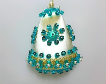 Turquoise Beaded Sequin Ornament, Vintage Beaded Christmas Ornament, Handmade Christmas Ornament, Turquoise White Ornament, Bell Ornament