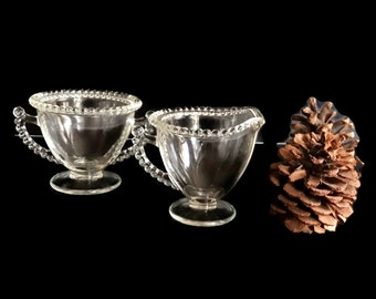 Vintage Glass Footed Sugar and Creamer Set Beaded Edge Crystal Glass Clear Glass Unknown Maker Similiar to Candlewick