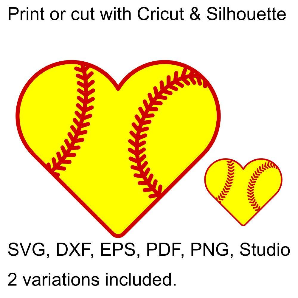 Softball Heart SVG File For Cricut & Silhouette, Heart