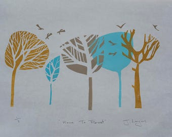 Home To Roost, original handpulled linocut print, Limited Edition