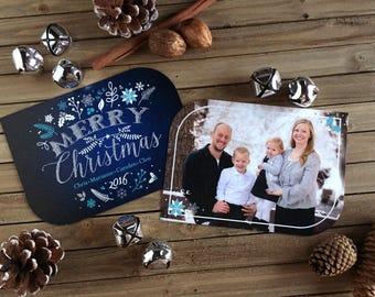 Christmas Card - Photo Christmas Card - Blue Leaf Card