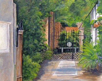 Charleston S.C. Courtyard painting reproduction 8x10 print