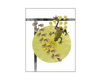 Frog Art Print, Animal Wall Art, Modern Minimalist Contemporary Interior Decor, Nursery Art, Big Large Poster, Earthy Gold Green Brown