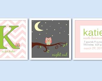 Set of 3 Monogram Owl Nursery Prints/Chevron Nursery/Birth Announcement/Alphabet Letter/Girl's Nursery/8x8, 8x10, 10x10, 12x12