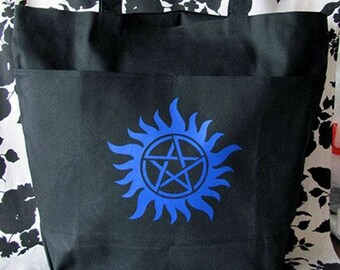Gothic Anti-Possession Symbol Pentagram Wiccan Oversize Pocket Tote Bag Purse in Blue and Black - Ready to Ship - Warning Label Creations