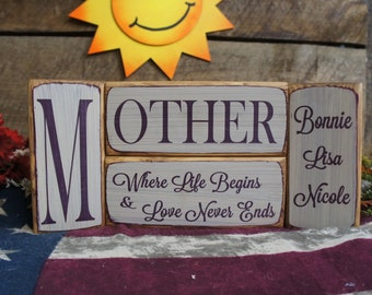 Mother Where Life Begins & Love Never Ends 4 PC solid wood block set rustic style One block personalized with first names custom family gift