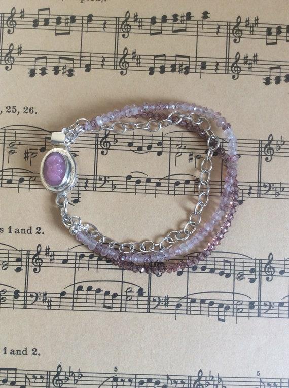 Multistrand sterling and Swarovski crystal bracelet