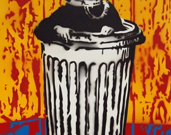 "Surrealistic painting ""Armour Man"" Spraypaint stencil"