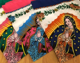 Virgin of Guadalupe Virgin Mary Mexican scarf Paliacate Printed Fabric