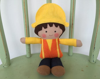 Construction Worker, rag doll, perfect for imaginative play!