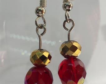 Little Treasures, drop earrings, smoky quartz, ruby, gold, rondelle beads, silver 925