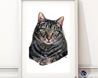 Tabby Cat Portrait Wall Print, Realism Fine Art, Cat lover gift, Gifts for her, Wall art print, Birthday gifts, Cat art, Gift cat décor