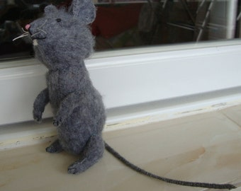 Mouse Doll-- Gray Felt Plush Handmade 5""