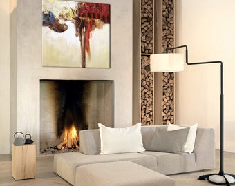 Hand-Painted Modern Abstract Oil Painting  Stretched Canvas Wall Decor