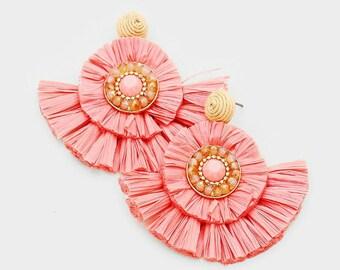Peach Raffia Fringe Disc Fan Tassel Dangle Earrings