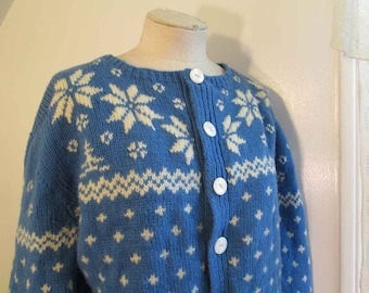 Blue and White Wool Scandia Sweater Snowflake Vintage Folklore Sweater Handknit Blue Wool Cardigan Big buttons 60s wool chunky Cardigan L XL