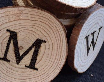 Custom Coasters | Coaster Set of Four | Initial Wood Coasters | Wood Coasters