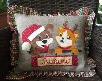 Christmas-pillow dog and cat greeting cards