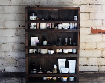 Blackened Wood Apothecary Cabinet, Bathroom Decor, Medicine Cabinet, Spice Cabinet, Rustic Home Decor, New Mom Gift, Wife Kitchen Gift