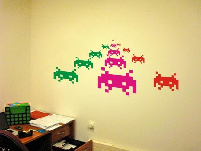 Space Invaders Pixel Creatures Wall Decals Vinyl Stickers Art