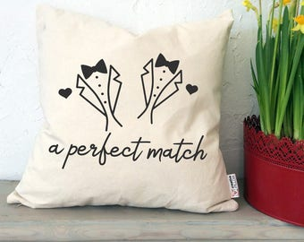 Gay Wedding Gift for Men Gift for Newlyweds Wedding Shower Gay Pride Gay Couple LGBT Two Men Wedding Gay Marriage Gay Engagement Gift Pillow