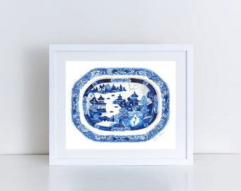 Blue and White Ginger Jar Painting 12 Chinoiserie Art Blue Willow Painting Blue and White China Chinoiserie Chic Asian Wall Decor Canvas Art