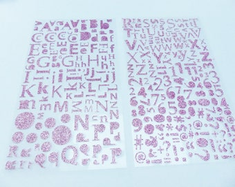 alphabet letter number computer symbol and punctuation 300 stickers pink glitter