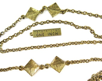 Vintage Antique Gold Plated Cable Chain Necklace with Diamond Charms (1x) (J631)