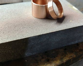 Copper wedding ring set, his and hers