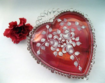 Paden City Glass Red Heart  Candy Dish, Hand Painted White Flowers, Large, Three Compartment