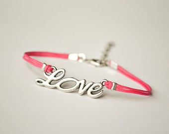 Love bracelet, pink cord bracelet with a silver love charm, Friendship bracelet, stack bracelet, love bracelet, gift for her