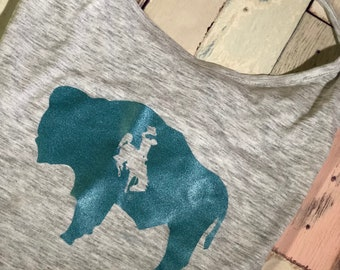 Alternative Apparel T With Back Strap/Low Back Light Gray/Aqua Buffalo Wyo
