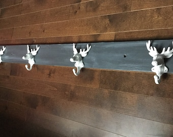 Wall coat rack 4 hooks white deer