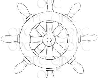 Digital Stamp Ship's Wheel