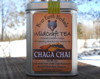 Chaga Chai Tea, Herbal Caffeine Free Chai, Wild Chaga Tea, with Organic Chicory and Cayenne, Loose Leaf Tea, Wild Crafted, Adaptogenic Tea