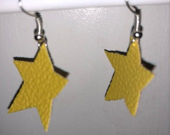 Yellow star earrings, with silver hooks.