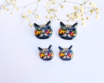 Kitty earrings / Palms earrings / Summer earrings / Cat with glasses / Hipster cat studs / Kitten studs / Kitty jewelry / Cat gift idea