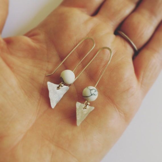 Howlite Arrowhead Sterling Silver Earrings - Semi Precious - Triangle - Healing - Chakras - Self Love - Calming - Boho - Festival - White -