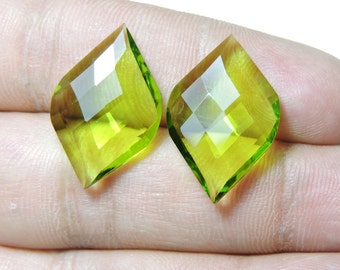 2 Pcs Extremely Beautiful Peridot Green Quartz Faceted Fancy Spiral Shape Loose Gemstone Beads Size 25X15 MM