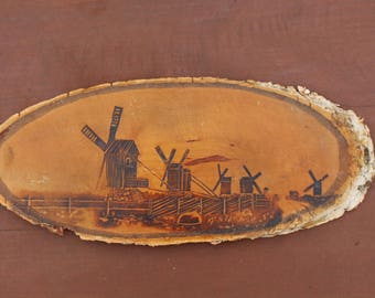 Vintage wall hanging Windmill wall hanging Soviet wall decor Small wooden wall hanging Birch tree wall decor Windmill home decor