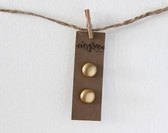 Metallic Gold Fabric Button Earrings