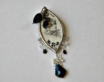 Vintage Inspired Black and White Large Brooch, Woman's Face Brooch, Large Brooch, Big and Bold, Dangling Brooch, Antiqued Brooch