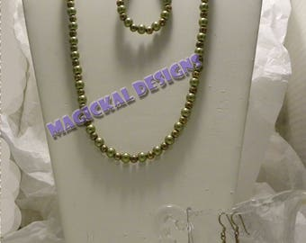 Olive Martini  -  Necklace, Bracelet, and Earrings, Set,   fishhook clasp, earwires, adjustable, extender, glass, faux pearls, pearls