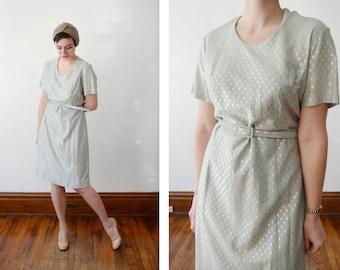 60s/70s Sea Foam Green and Silver Dress - L