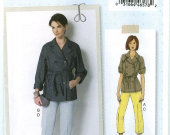 B6331 Butterick Lisette - Misses Loose Double-Breasted Jacket and Semi-fit Pant - NEW Sewing pattern Sz A5 6-8-10-12-14 & E5 14-16-18-20-22
