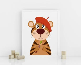 Tiger nursery print, Printable Nursery Animal Wall Art, Nursery Decor, Artistic Tiger with a brush, Digital download
