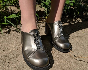 Cute silver 90s Doc Martens style mules