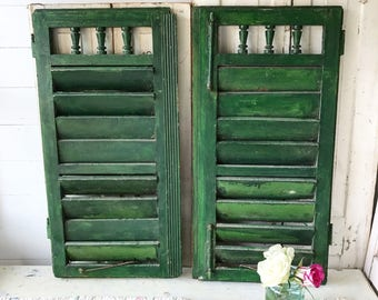 A beautiful pair of antique French shutters