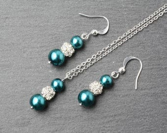 Teal jewelry set, teal pearl earrings and necklace set, Teal wedding jewelry, Teal bridesmaid jewelry set, teal wedding jewelry set